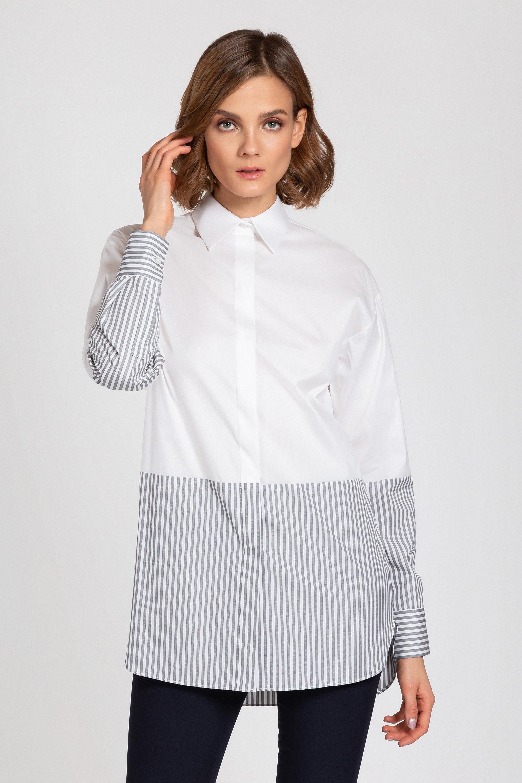 Комбинированная блузка прямого силуэта VASSA&Co