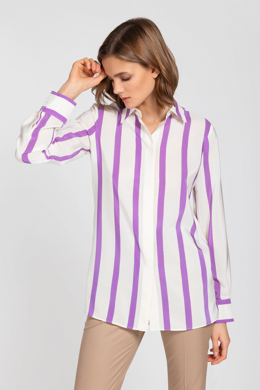 Классическая шелковая блузка в полоску VASSA&Co