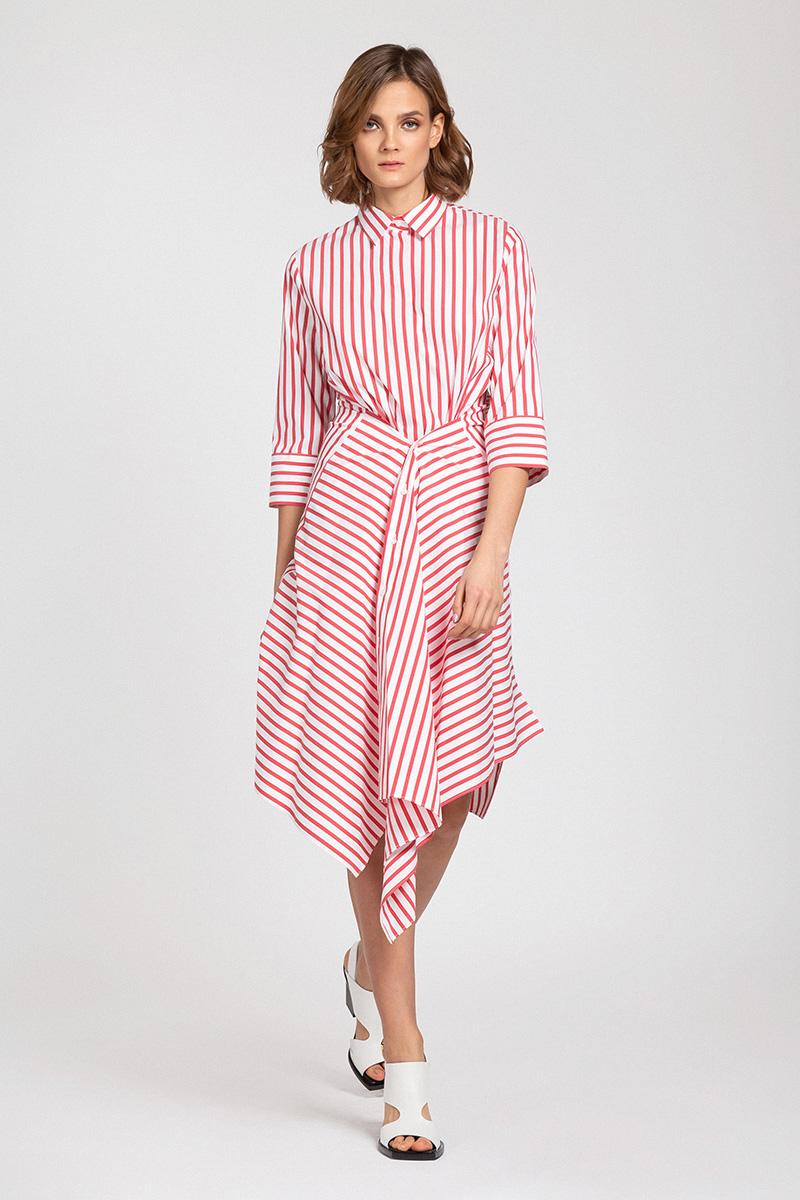 Платье-рубашка в полоску с отлетными деталями VASSA&Co