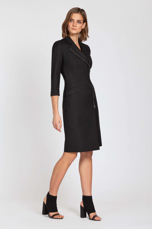 Приталенное платье с асимметричной молнией VASSA&Co