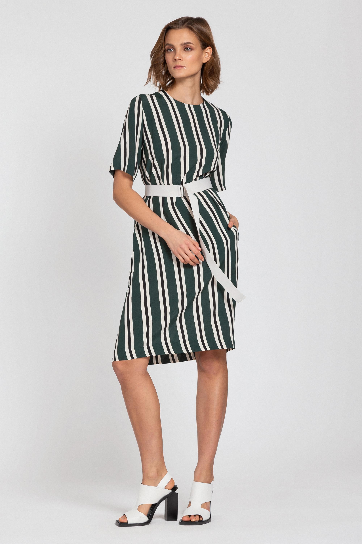 Платье из вискозы с поясом из стропы VASSA&Co пальто vassa