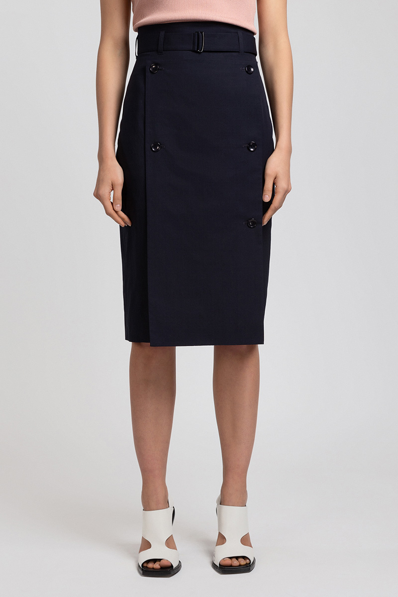 Зауженная юбка с разрезом и съемной деталью VASSA&Co цена и фото