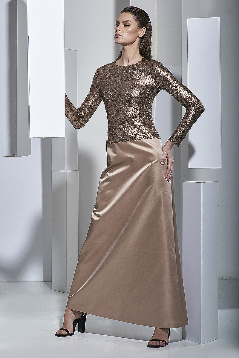 Вечернее платье из атласа с пайетками VASSA&Co вечернее платье friends clothing l000145 2015
