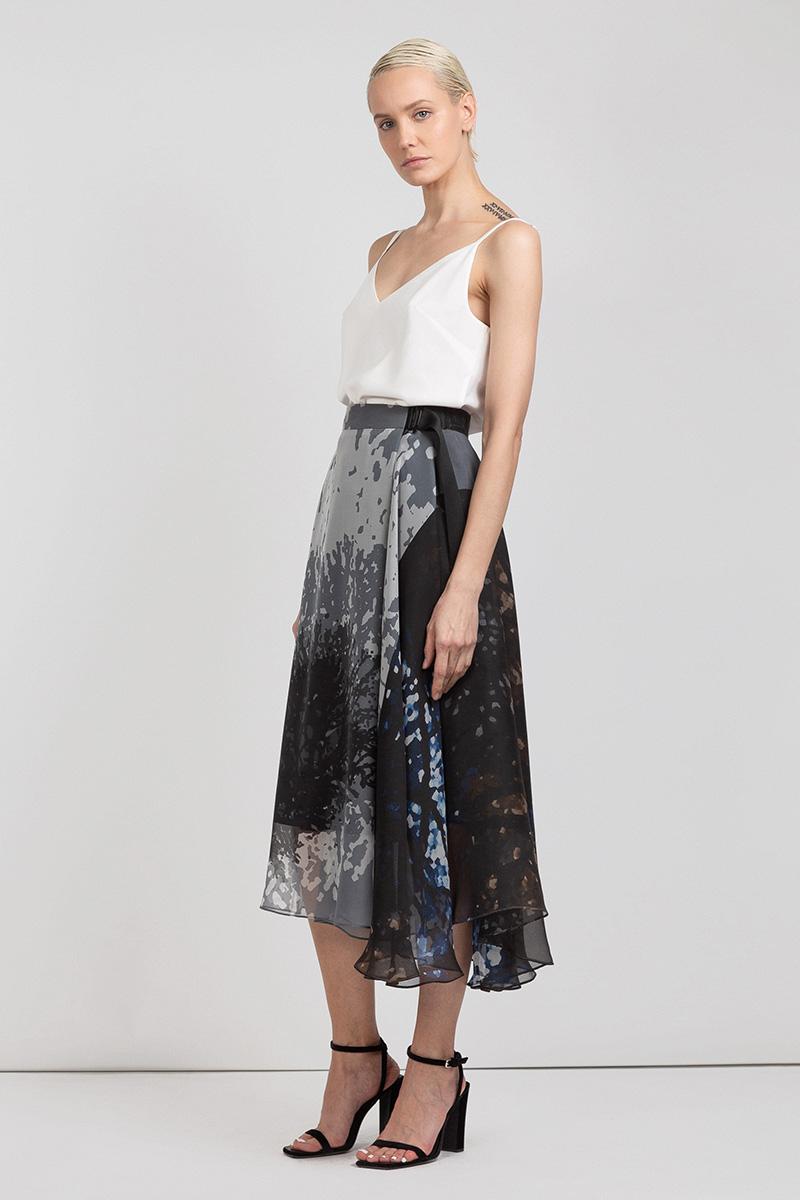 Асимметричная юбка миди из шелка VASSA&Co