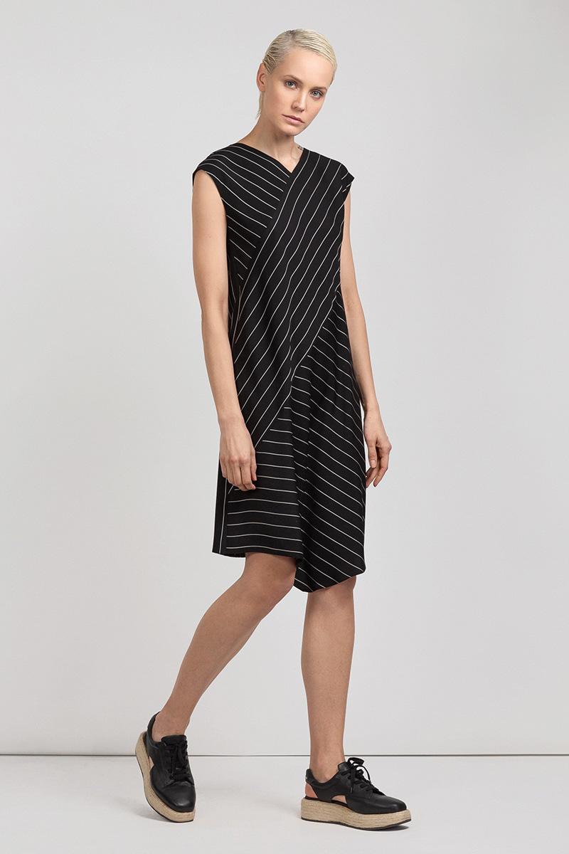 Платье в полоску с асимметричным кроем VASSA&Co