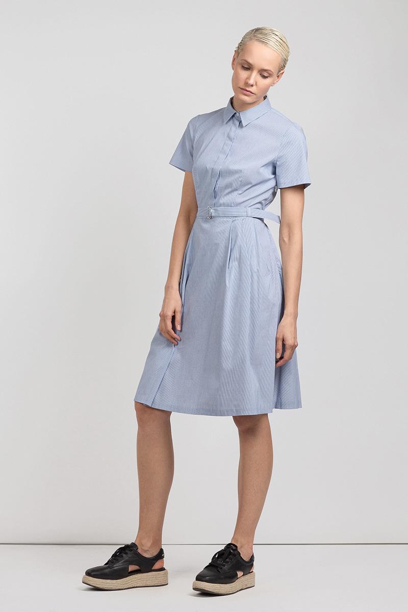 Хлопковое платье в полоску с коротким рукавом VASSA&Co