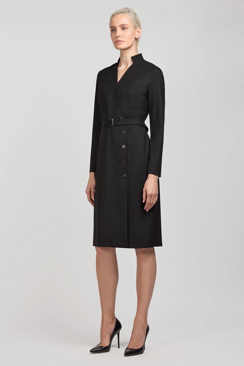 Платье с асимметричной застежкой VASSA&Co приталенное платье с асимметричной молнией vassa