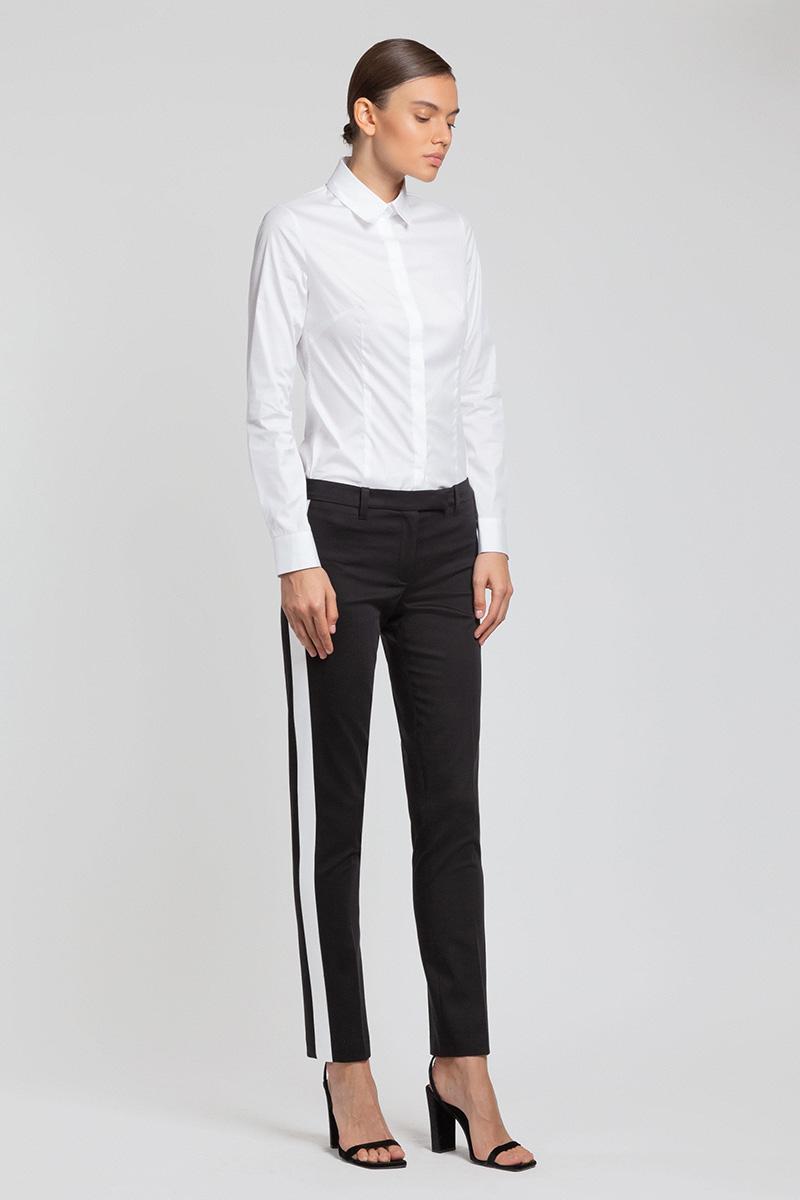 Черные классические брюки с белыми лампасами VASSA&Co