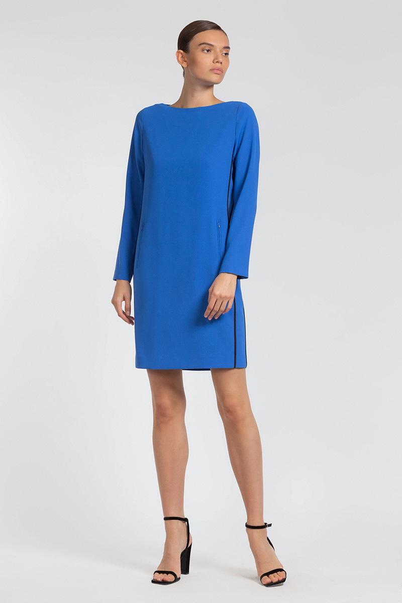Платье с прорезными карманами и контрастным кантом VASSA&Co