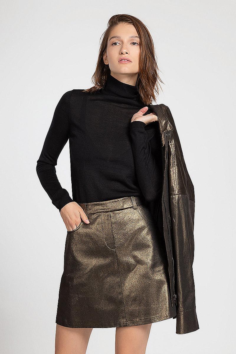 Короткая юбка трапеция из ткани с напылением VASSA&Co юбка короткая из денима с геометрическим рисунком