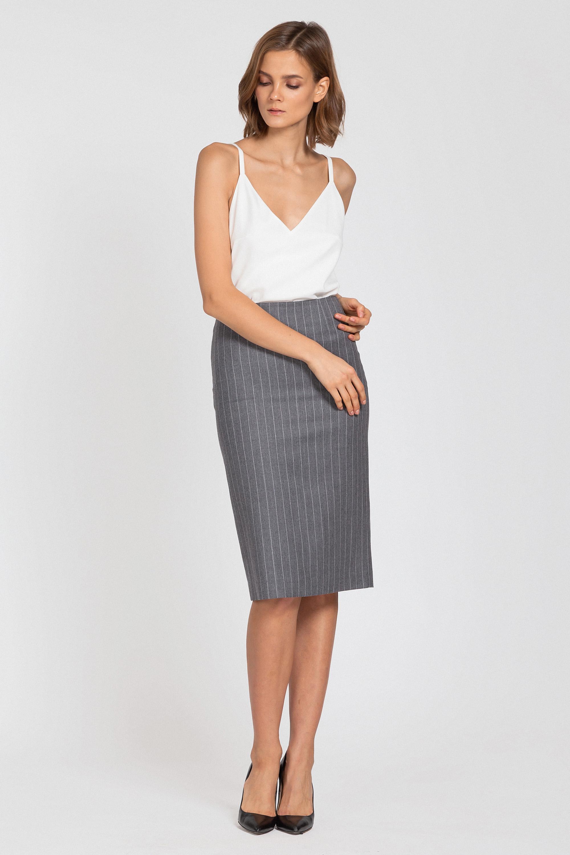 Зауженная юбка в полоску с высокой посадкой VASSA&Co юбка 525