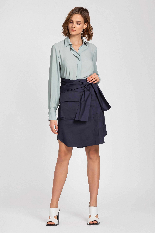 Оригинальная юбка из хлопка на пуговицах с накладным карманом VASSA&Co