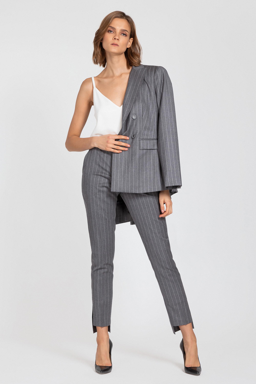 Брюки в полоску с перепадом длины VASSA&Co юбка карандаш с перепадом длины и лампасами vassa