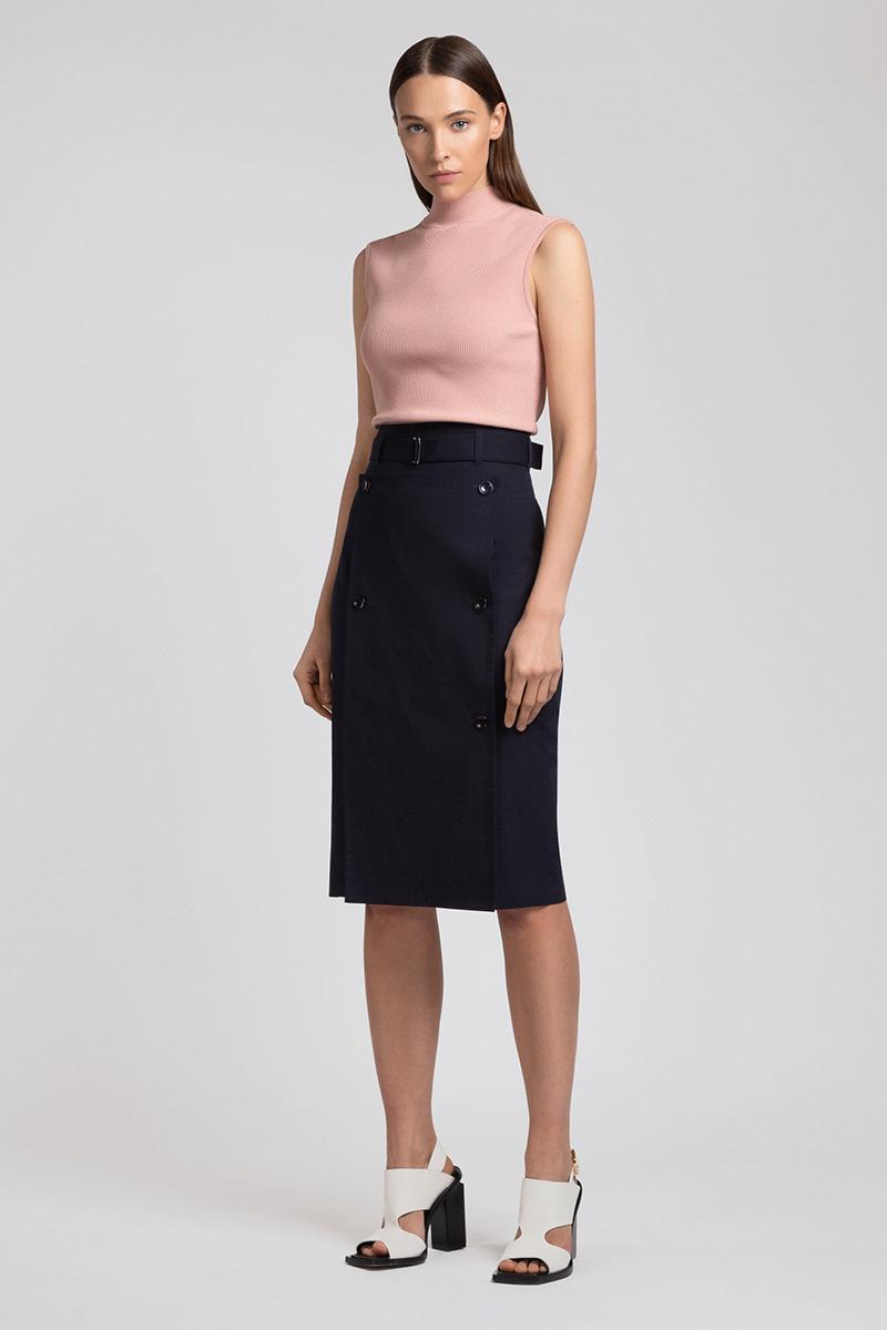 Зауженная юбка с разрезом и съемной деталью VASSA&Co