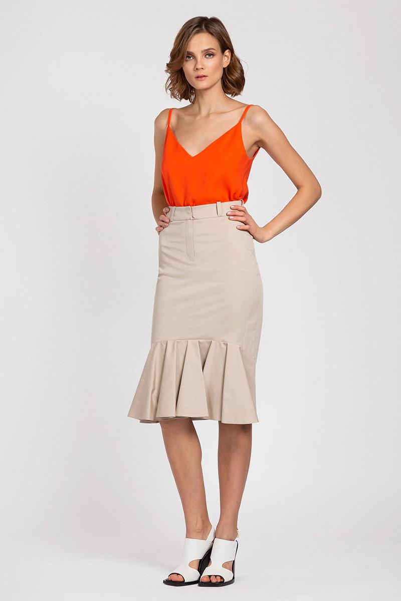 Хлопковая юбка на завышенной талии с воланом VASSA&Co