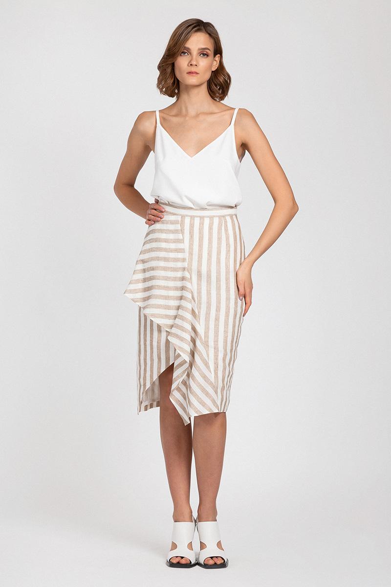 Асимметричная льняная юбка в полоску VASSA&Co