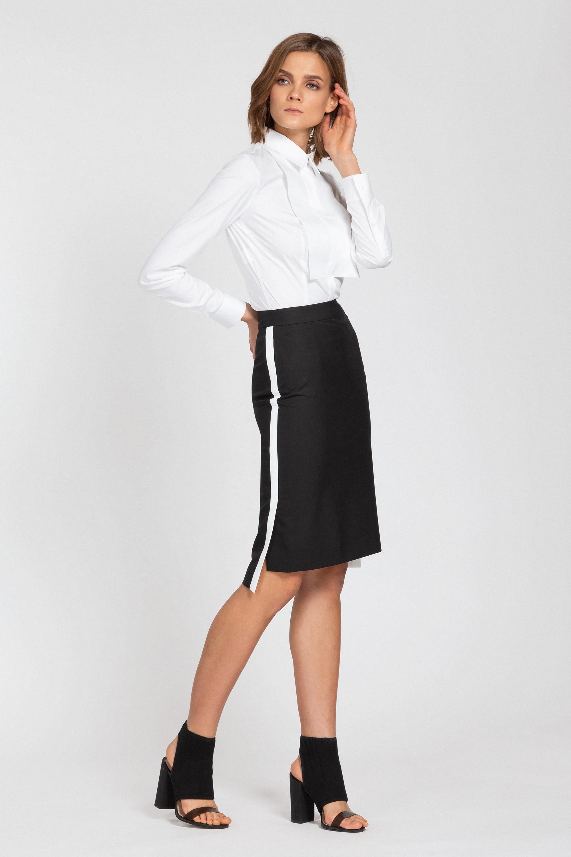 Юбка-карандаш с перепадом длины и лампасами VASSA&Co юбка карандаш с перепадом длины и лампасами vassa