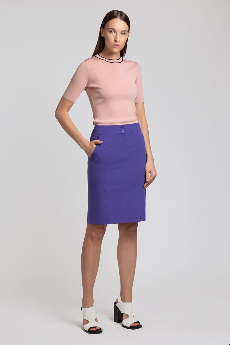 Юбка-карандаш из хлопка VASSA&Co юбка карандаш с перепадом длины и лампасами vassa
