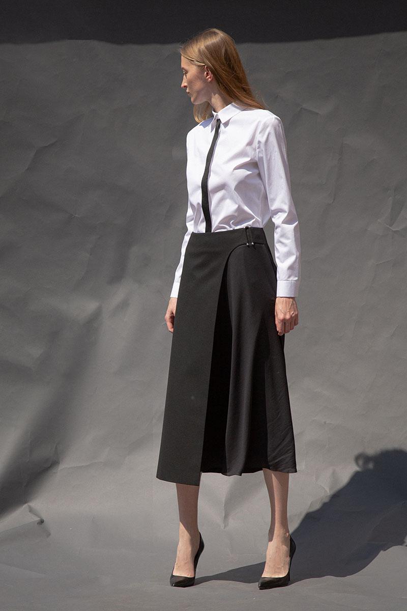 Удлиненная юбка-миди с асимметричной вставкой VASSA&Co