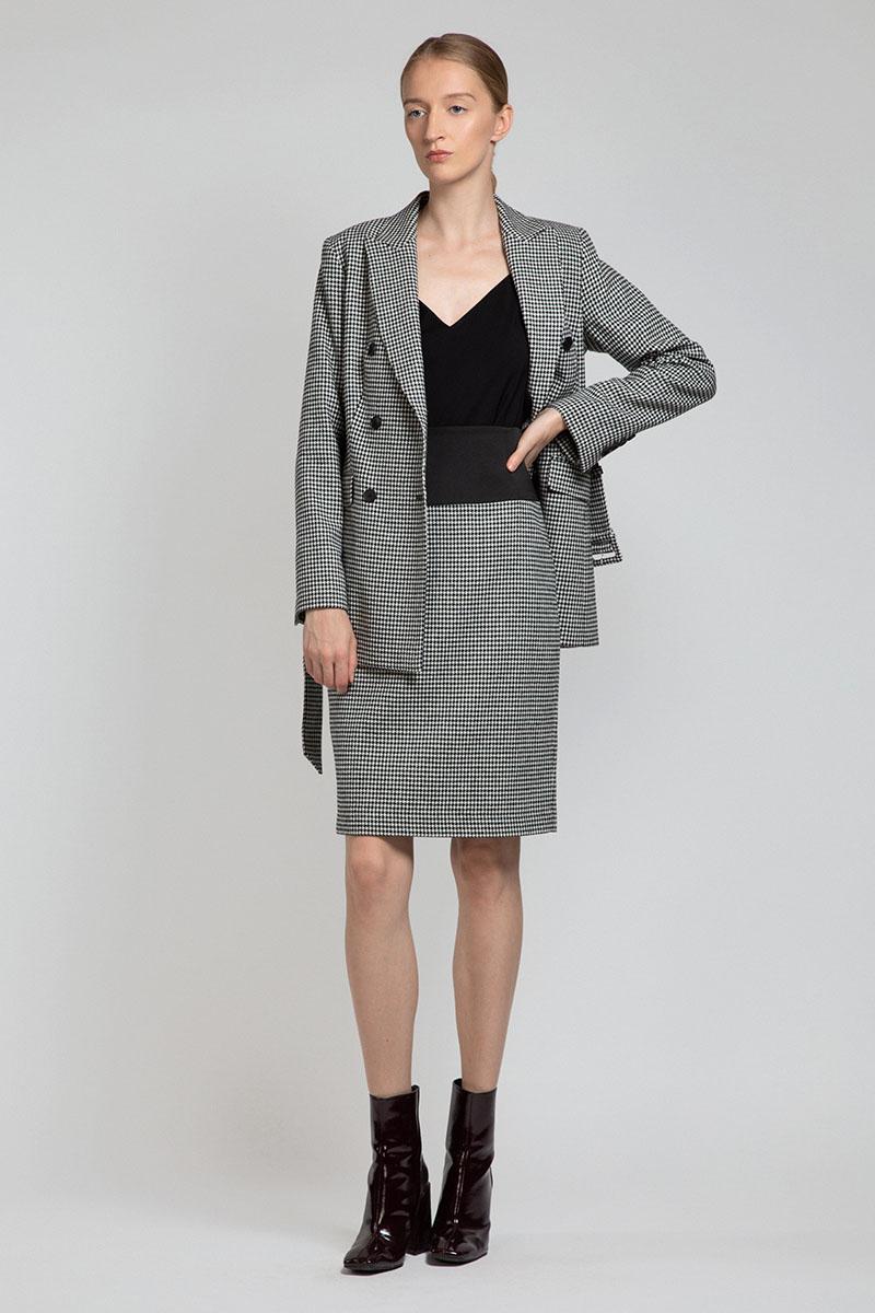 Юбка-карандаш с широким фактурным поясом VASSA&Co юбка карандаш из хлопка vassa