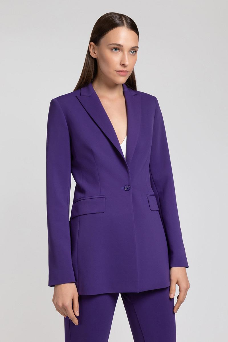 Фиолетовый удлиненный жакет VASSA&Co удлиненный кардиган с поясом vassa