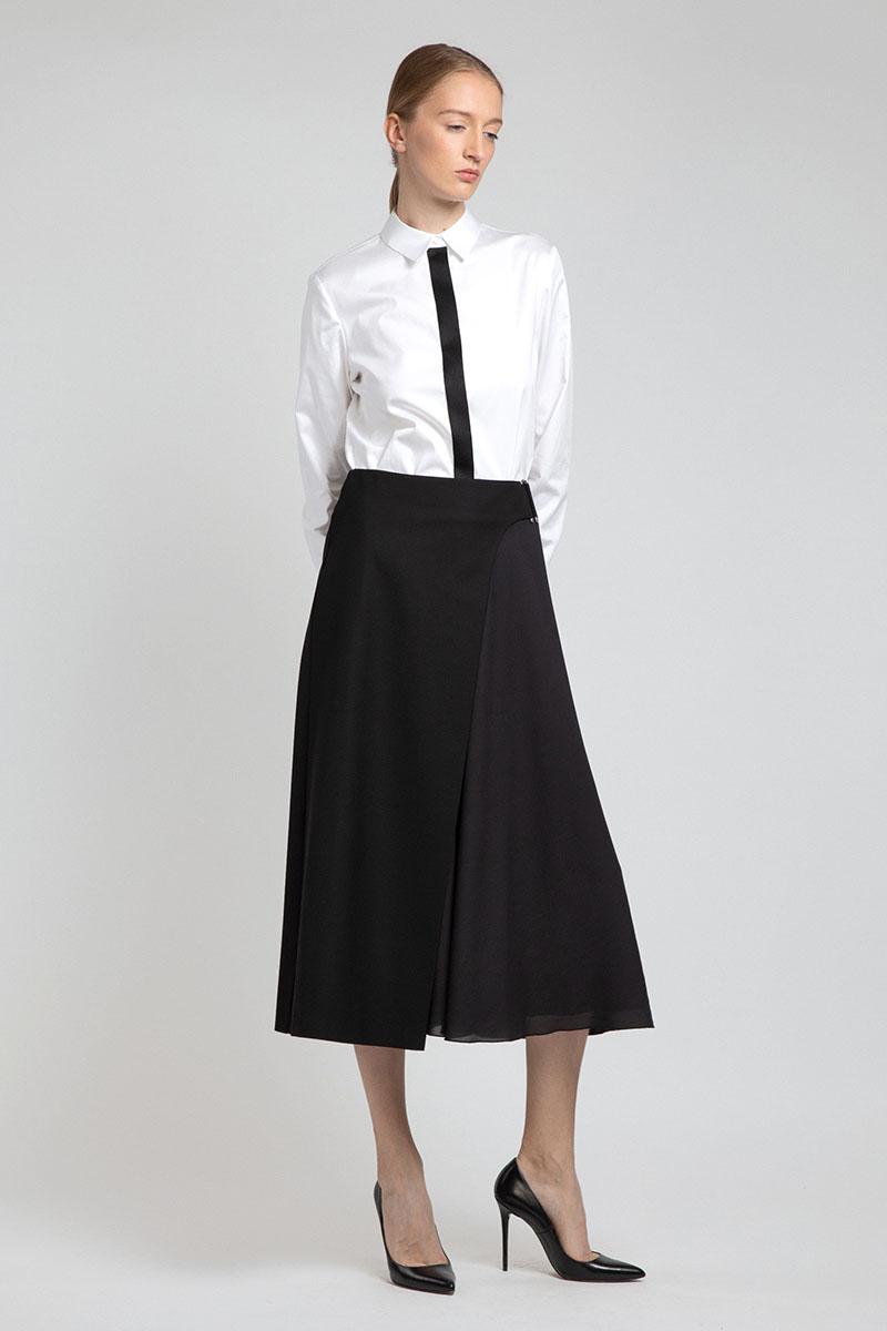 Классическая блузка с контрастной планкой VASSA&Co цена