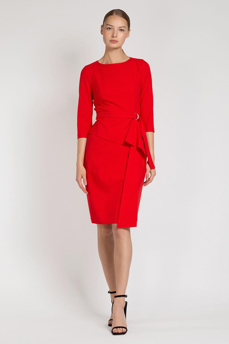 Платье с асимметричной оборкой VASSA&Co приталенное платье с асимметричной молнией vassa