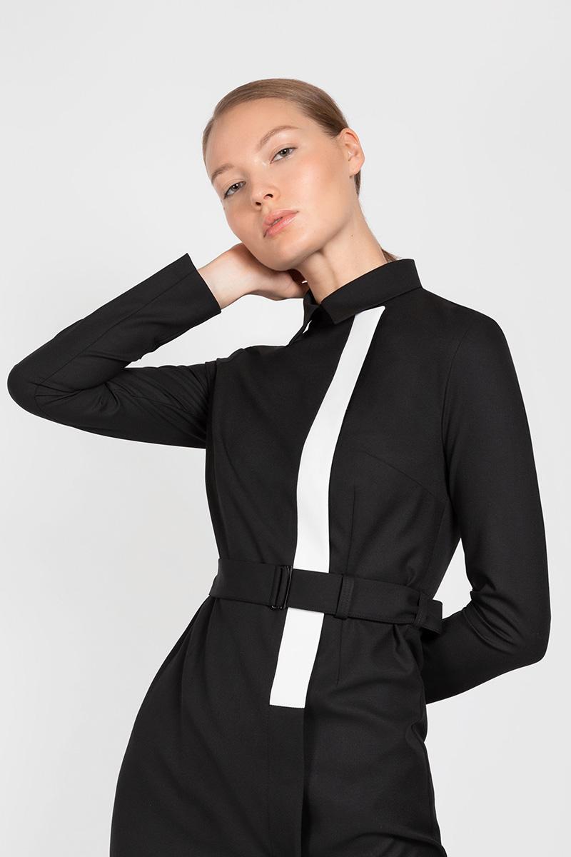 Платье со съемным воротником VASSA&Co приталенное платье с асимметричной молнией vassa