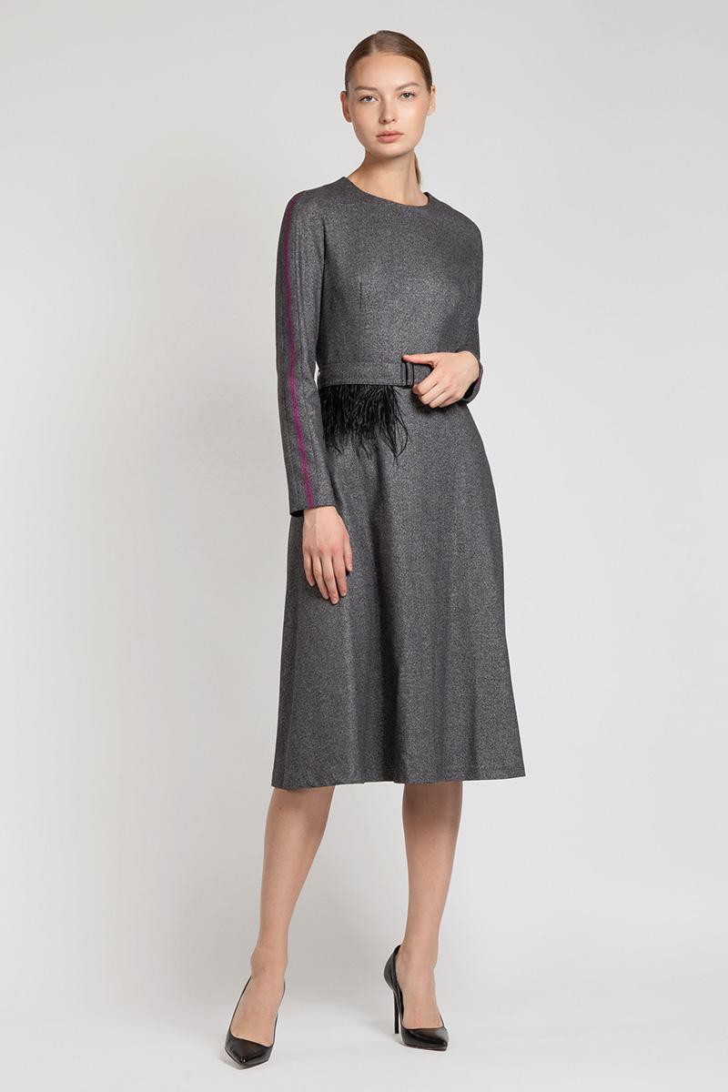 Платье миди с лампасами на рукавах VASSA&Co