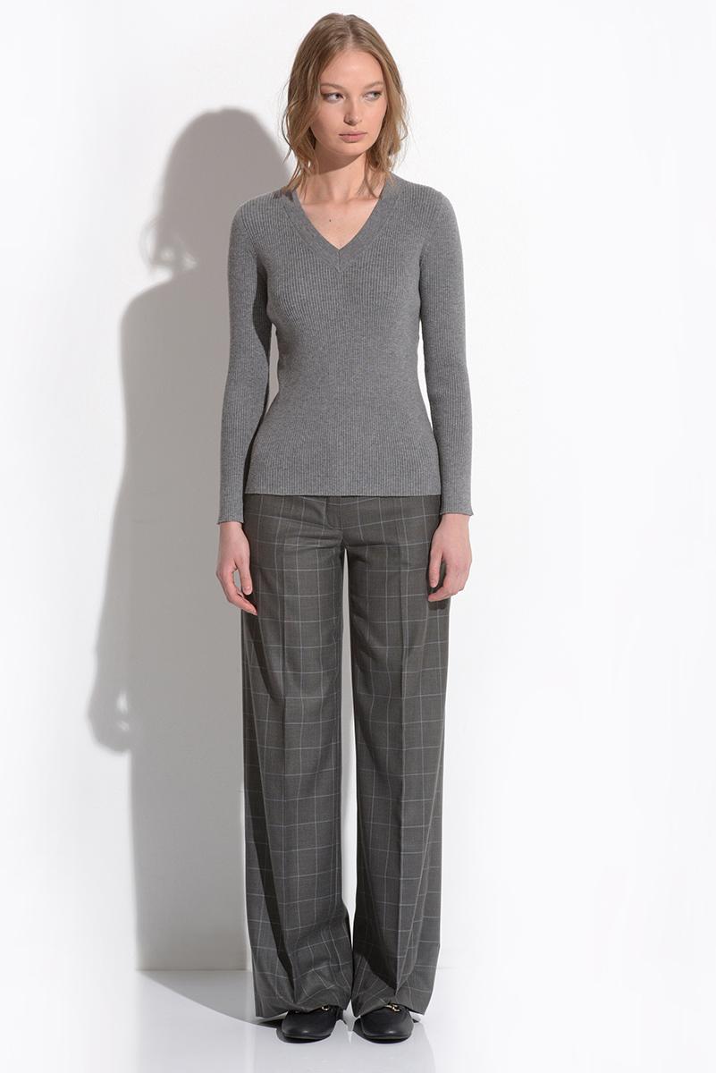 Прямые брюки серого цвета в клетку VASSA&Co