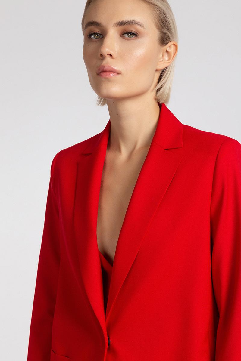 Жакет оверсайз с накладными карманами VASSA&Co, Красный, VASSA&Co W195102N-1699C40
