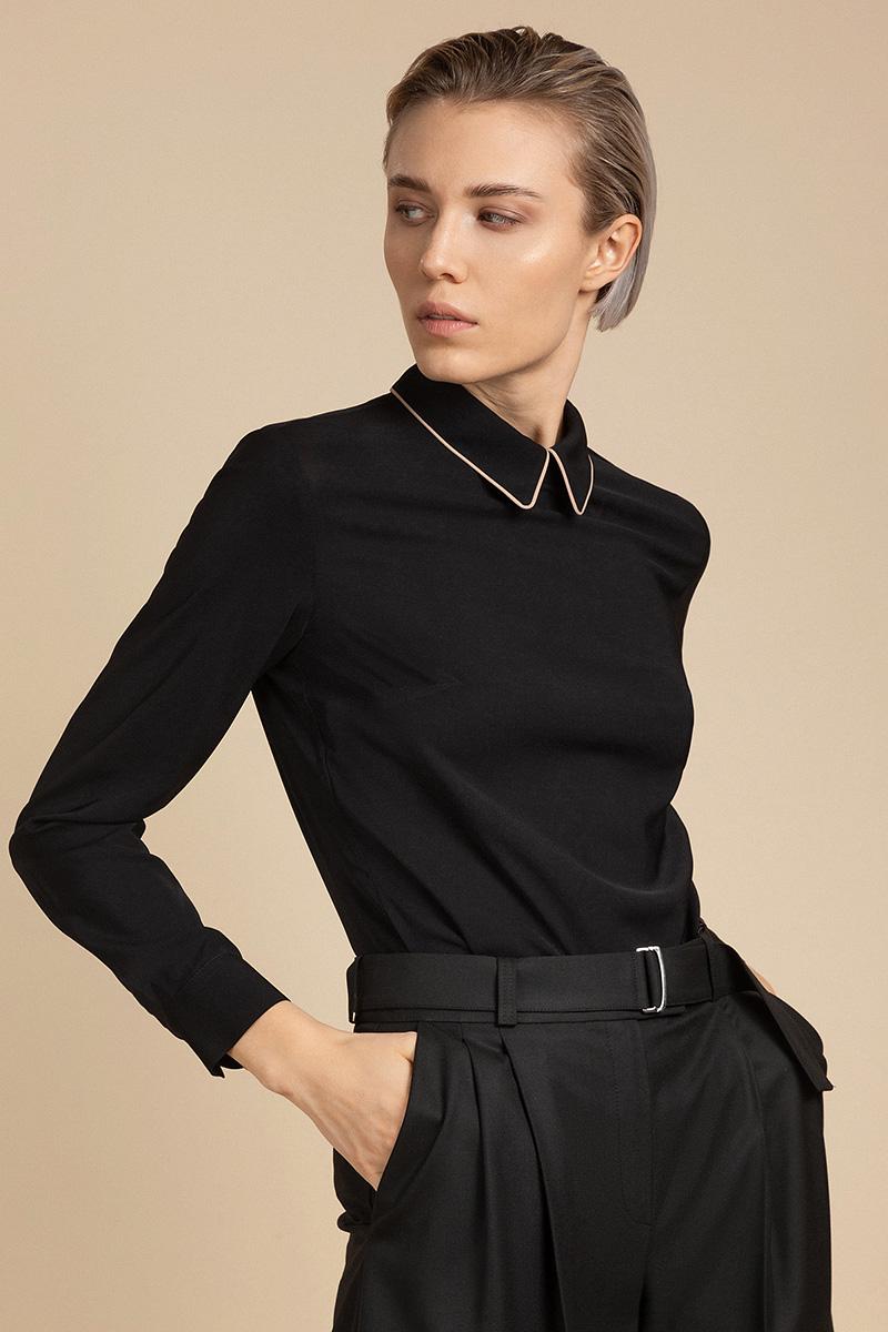 Блузка с контрастной окантовкой воротника VASSA&Co фото