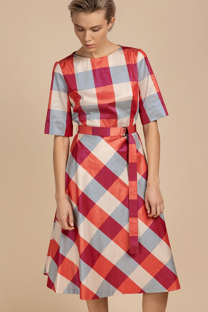 Платье из хлопковой ткани в клетку VASSA&Co фото