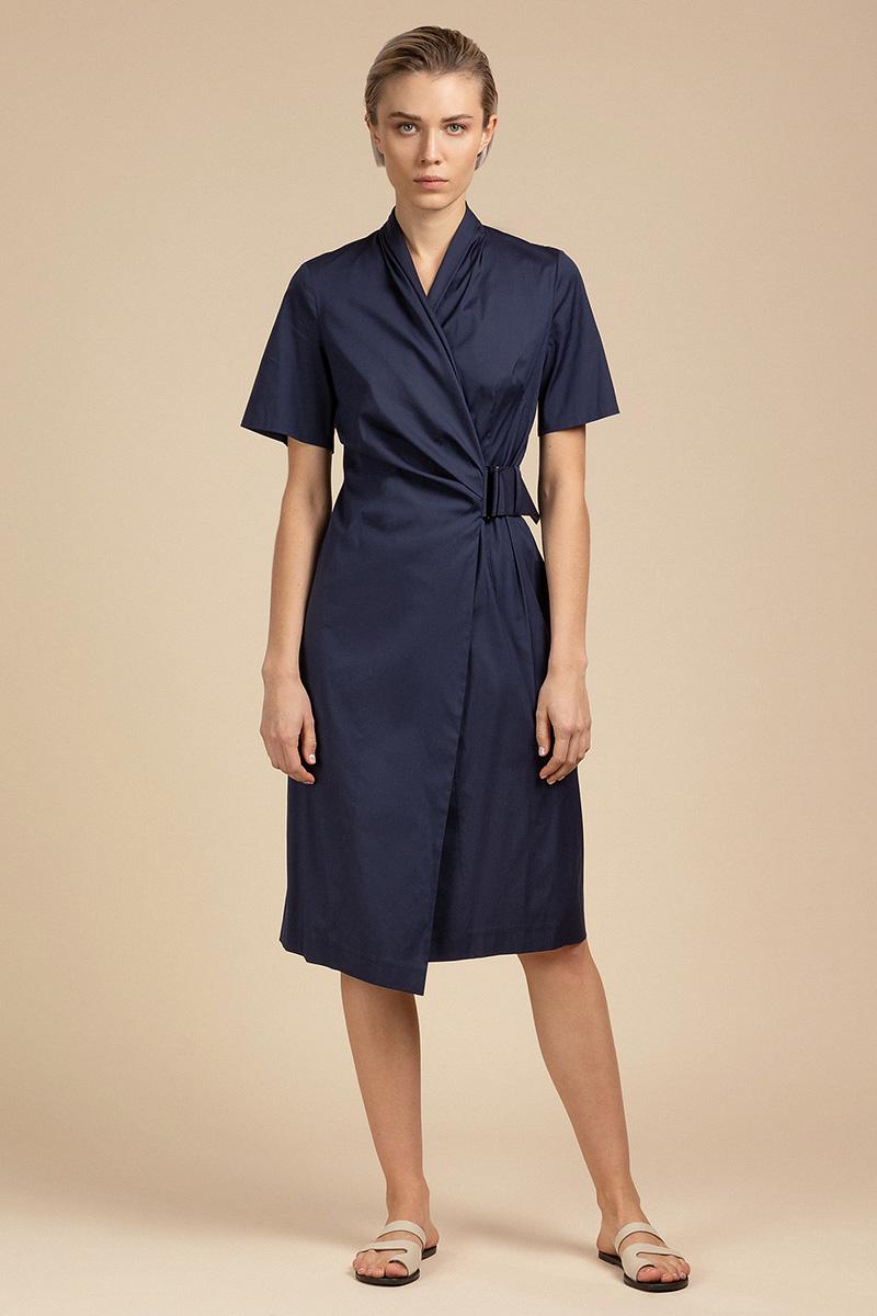 Лаконичное хлопковое платье с запахом VASSA&Co