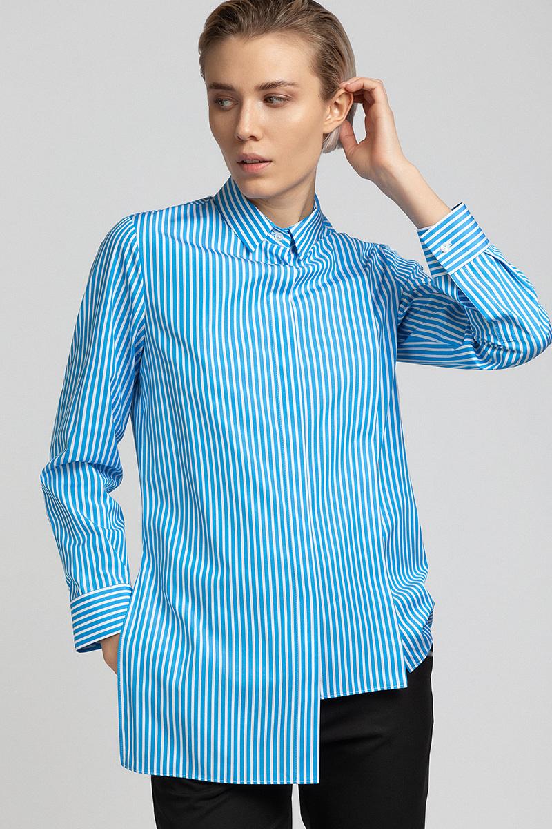 Удлиненная блузка с асимметричным бортом VASSA&Co фото