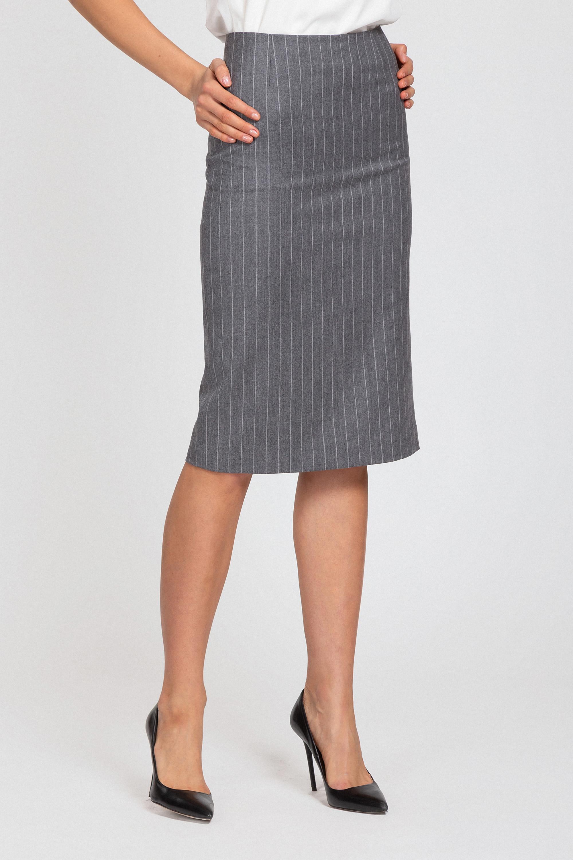 Зауженная юбка в полоску с высокой посадкой VASSA&Co цена и фото
