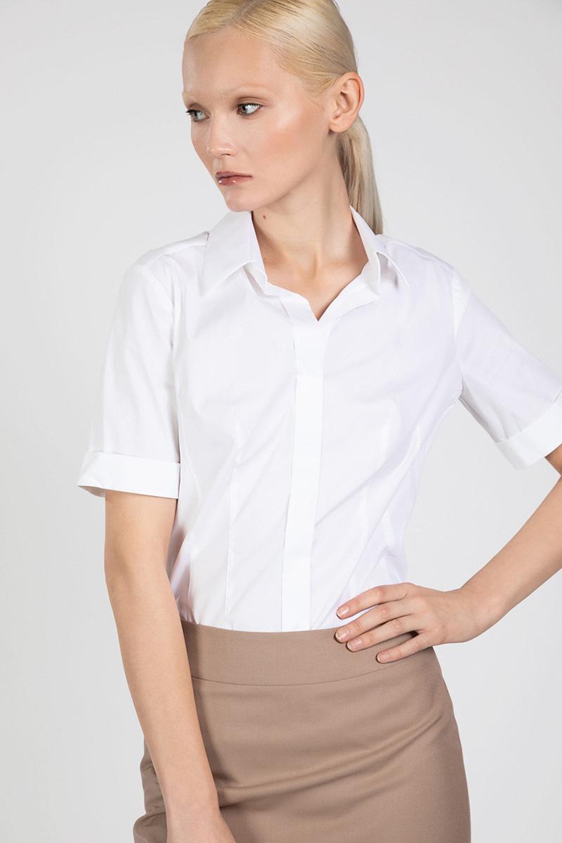 Блузка с рубашечным воротником и короткими рукавами VASSA&Co пиджак с отложным воротником b young
