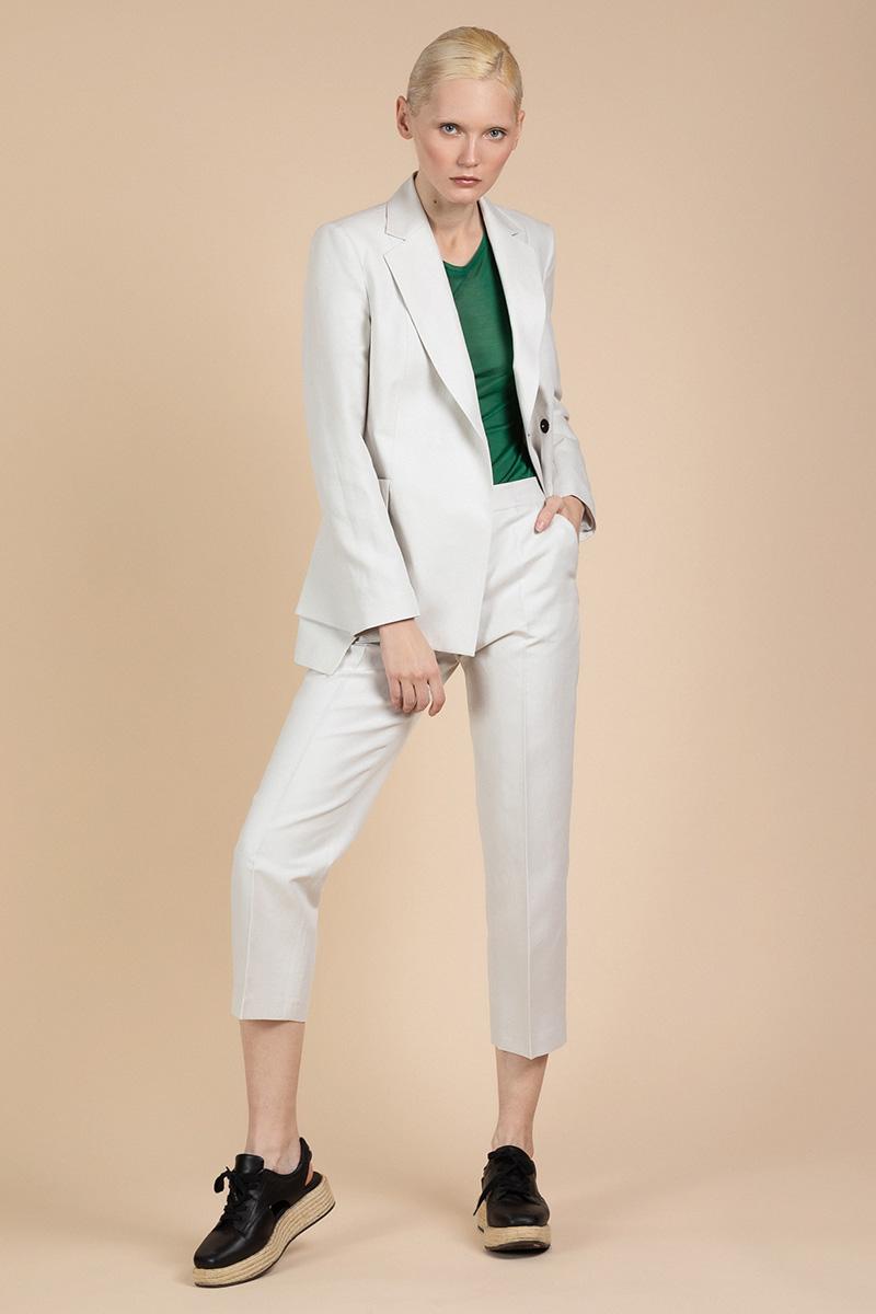 Прямые брюки из хлопка и льна VASSA&Co фото
