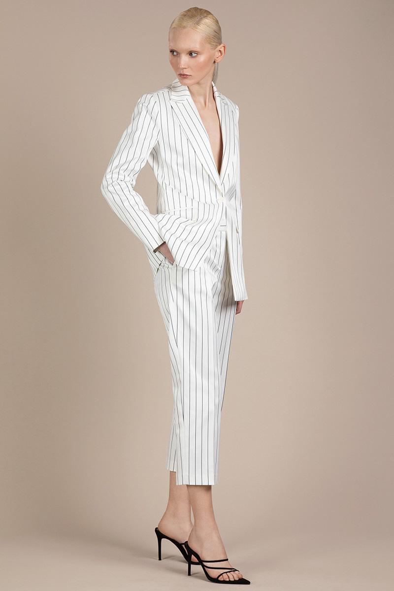 Прямые белые брюки в полоску VASSA&Co фото
