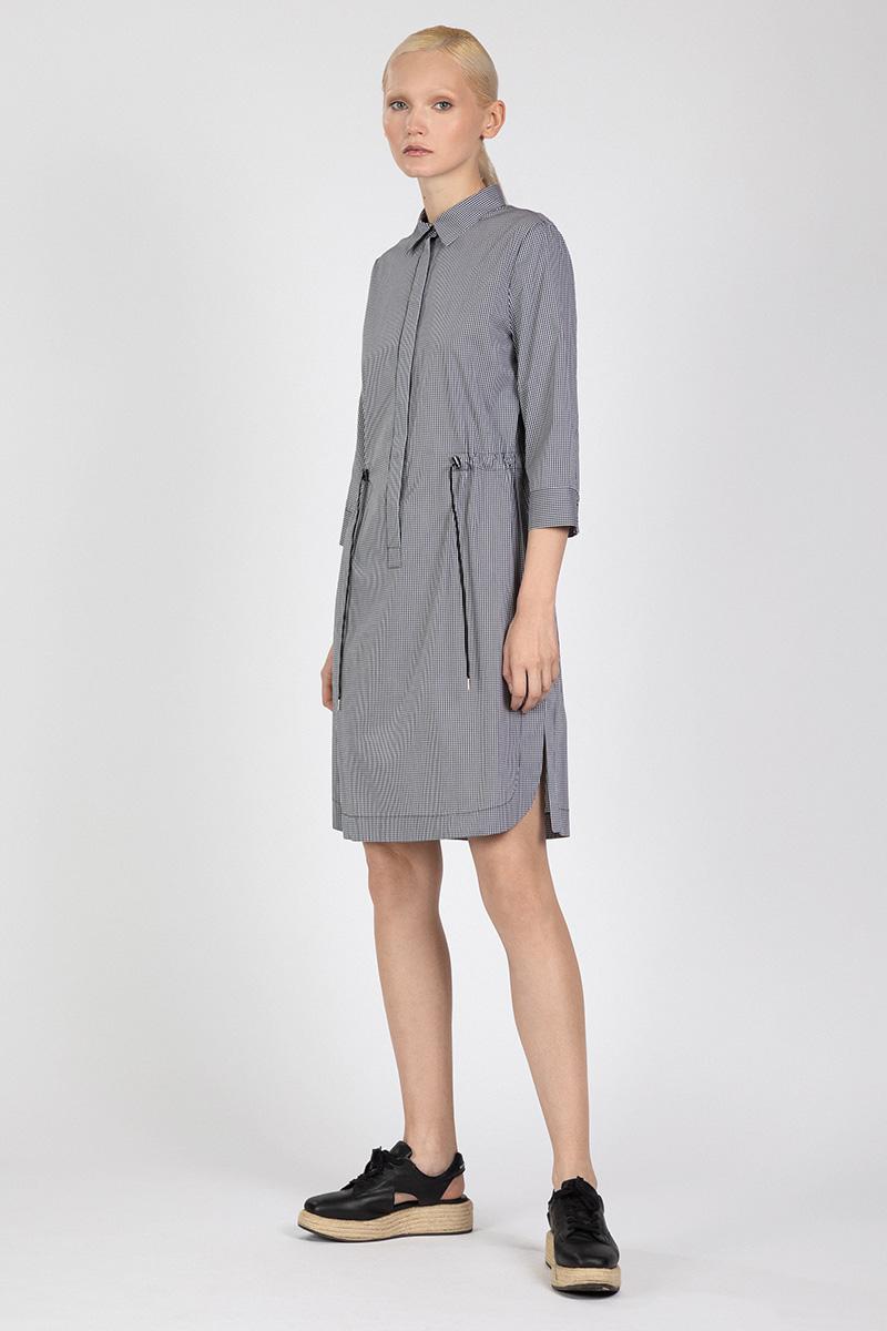 Хлопковаое платье-рубашка на кулиске VASSA&Co фото