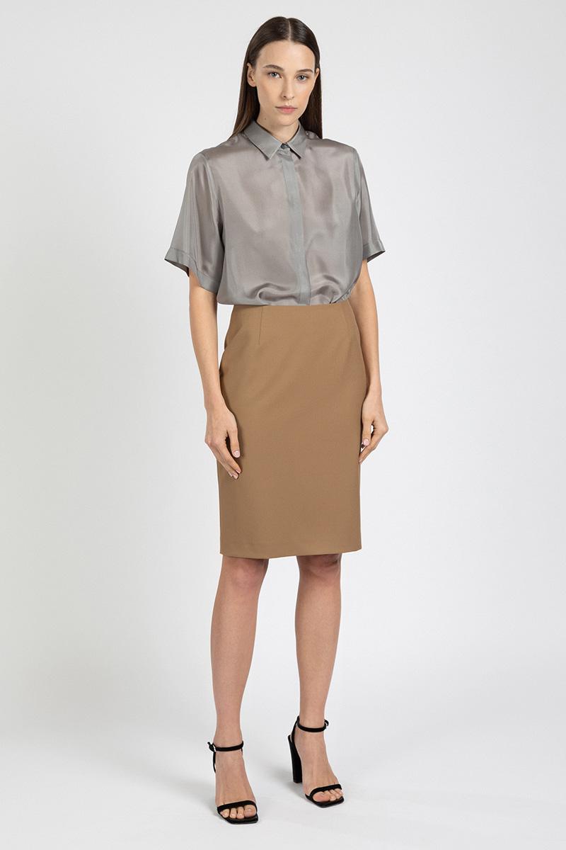 Шелковая блузка с коротким рукавом VASSA&Co пиджак с отложным воротником b young