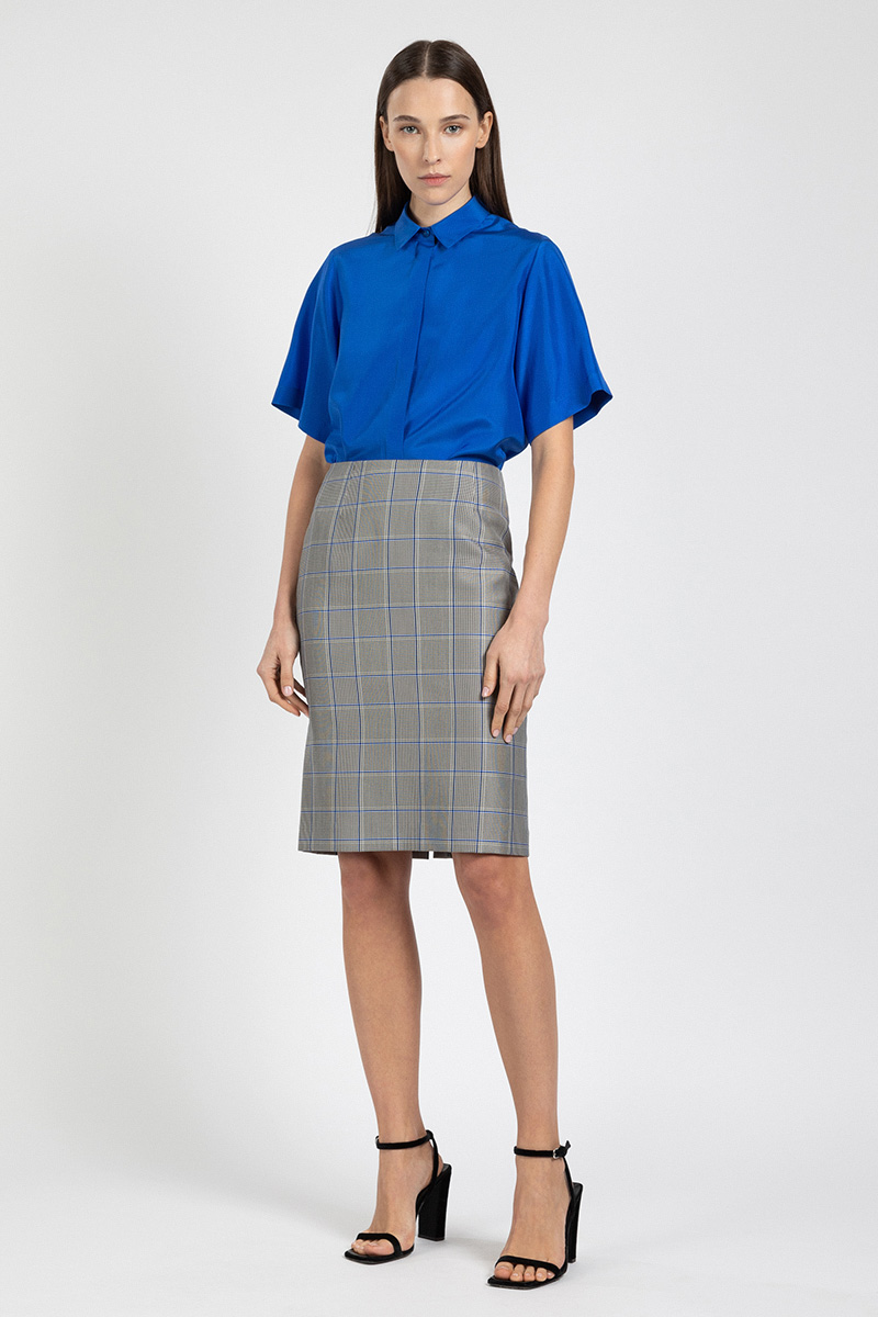 Базовая юбка-карандаш в клетку VASSA&Co фото