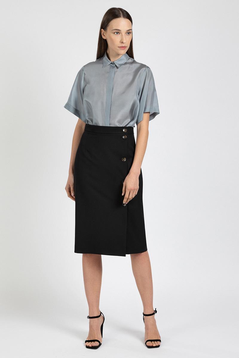 Шелковая блузка с коротким рукавом VASSA&Co фото
