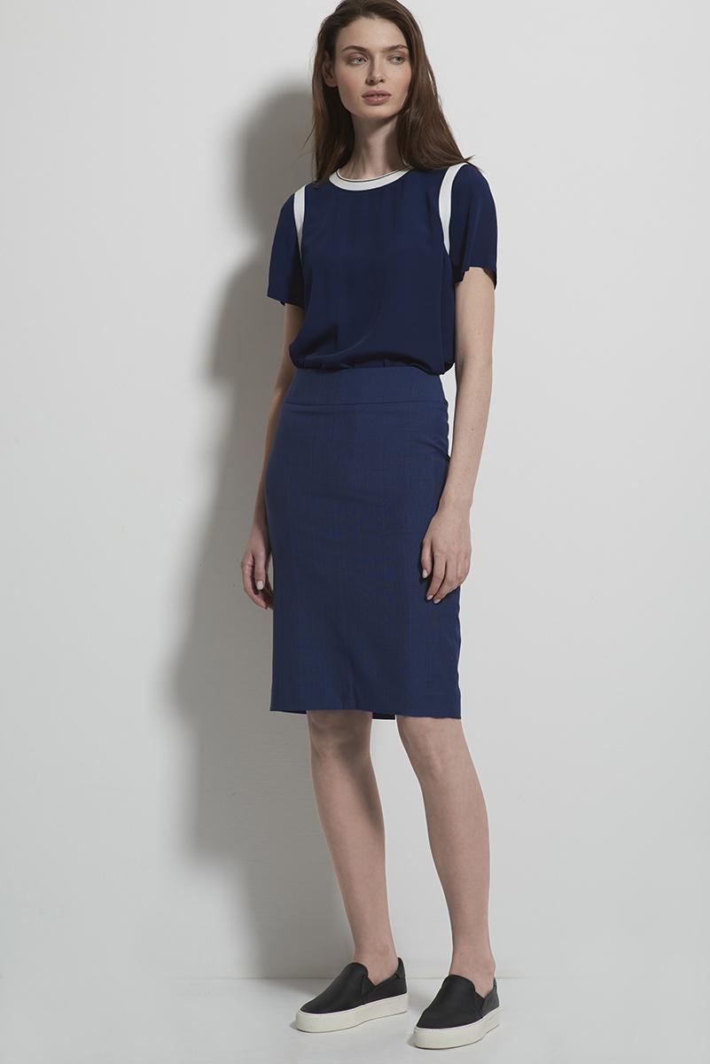 Классическая юбка синего цвета в клетку VASSA&Co фото