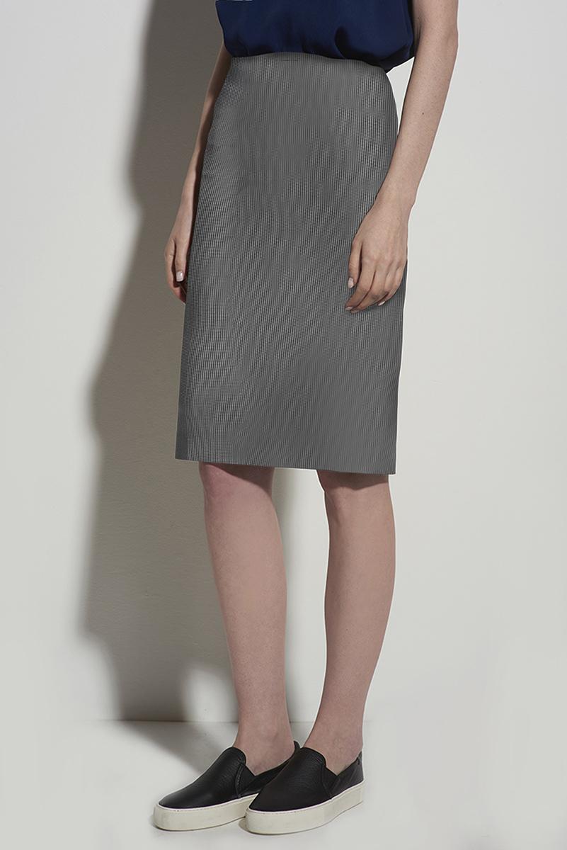 Юбка прямая короткая серого цвета с молнией VASSA&Co фото