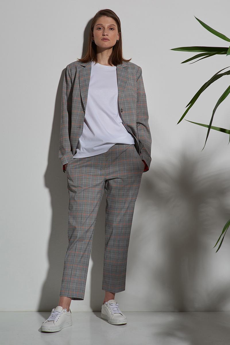 Жакет приталенный серого цвета в клетку VASSA&Co фото
