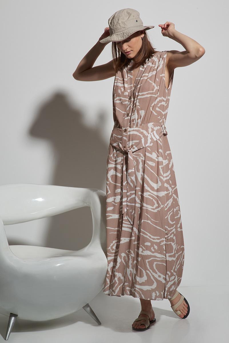 цена Платье длинное без рукава с принтом VASSA&Co онлайн в 2017 году