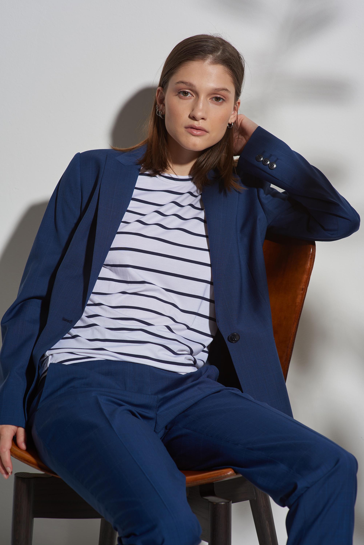 Жакет приталенный синего цвета в клетку VASSA&Co фото
