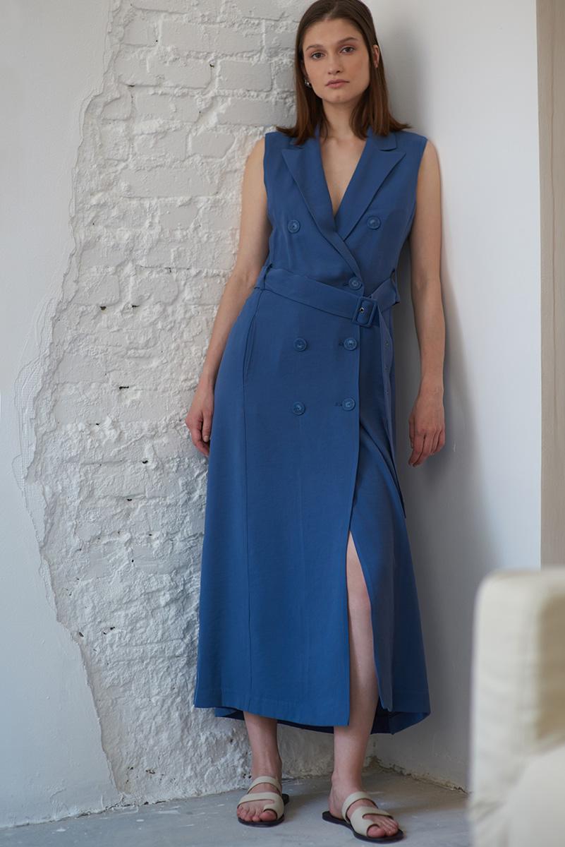 Двубортное платье синего цвета VASSA&Co
