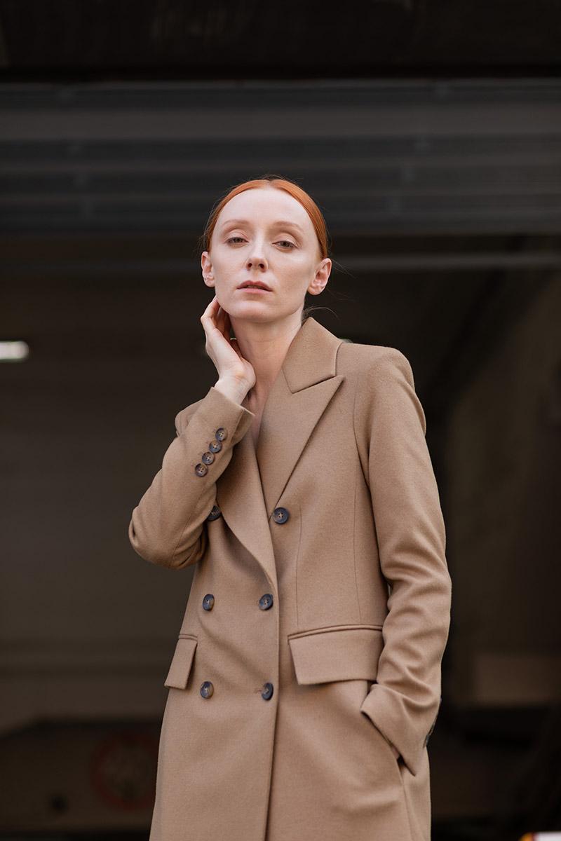 Двубортное пальто приталенного силуэта VASSA&Co фото